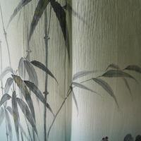 【夏・絽】作家物青白橡色裾暈かし笹と葡萄の蔦柄附下げ