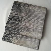 【ふくろ帯】グレイッシュな煌めき幻想的な意匠の袋帯