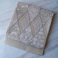 【ふくろ帯】灰白色系 菱文刺繍 ふくろ帯