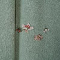 【袷】若緑色飛び柄小紋