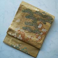 【ふくろ帯】志ま亀 松と四季花文 ふくろ帯