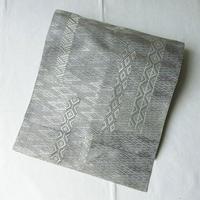【なごや帯】灰地 菱短冊文 織りなごや帯