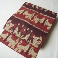 【なごや帯】赤紫茶系本ジャワイカットなごや帯