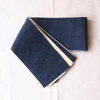 【半幅帯】濃紺色×生成り地 リバーシブル 麻半幅帯