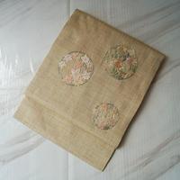 【なごや帯】生成り色紬地 花丸文 刺繍なごや帯