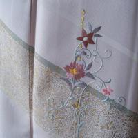 【袷】お花の刺繍と金彩銀彩更紗文 附下げ 5k75