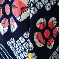 【浴衣】濃紺地花と蜘蛛絞り柄浴衣