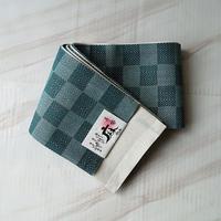 【半幅帯】市松に菱文麻半幅帯 千種色×濃青緑色