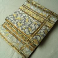【ふくろ帯】となみ謹製 紹把織り 変わり格子に雲錦文 袋帯