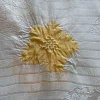 【帯揚げ】飛び絞り 黄檗色 きはだいろ 雪輪地紋絽帯揚げ №210427㋥
