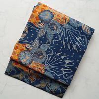 【なごや帯】青×橙 更紗文 なごや帯