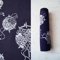 【反物】濃紺×生成り色 花風鈴文 木綿 ゆかた 反物