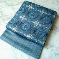 【ふくろ帯】青色 オリエンタル文 袋帯