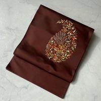 【ふくろ帯】葡萄茶色 ペイズリー刺繍ふくろ帯