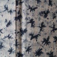お取り置き中・【袷】白灰色×藍墨色 格子と絞り柄紬