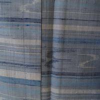 【袷】水色系横段に琉球絣柄の紬