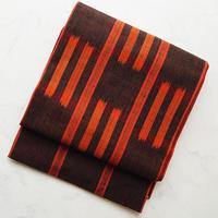 【ふくろ帯】縞と市松絣文 紬地ふくろ帯