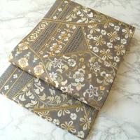 【ふくろ帯】銀鼠色地 スワトー刺繍 袋帯