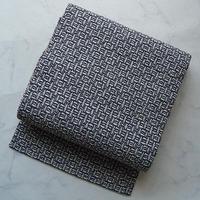 【なごや帯】鼠茶色系 織り模様 なごや帯