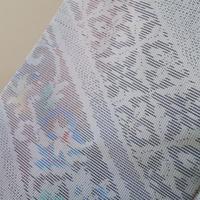 【袷】斜め縞に更紗文 白大島紬
