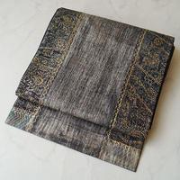 【ふくろ帯】天然印度藍に燻し調銀彩 洒落ふくろ帯