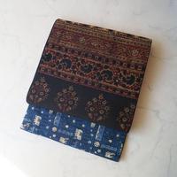 【なごや帯】 ブルー×ブラウン系 インド更紗 開きなごや帯