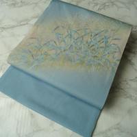 【なごや帯】  水浅葱色地すすき紋手描き友禅なごや帯