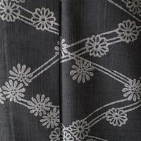 【浴衣】竺仙・藍鉄色に花と菱柄の浴衣