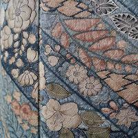 【袷】藍鼠系 辻が花文様の小紋