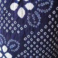 【浴衣】トールサイズ藍地に花と菱文 有松絞り 浴衣