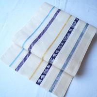 【夏なごや帯】生成り地 ラインに様々な文様の紗博多織 名古屋帯
