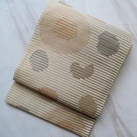 【ふくろ帯】灰白地織縞文ふくろ帯