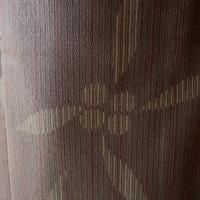 【単衣】トールサイズ・焦げ茶地 細縞と抽象花文 紬