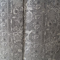【袷】灰色地 更紗織り柄 小紋 Y-2-11