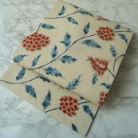 【なごや帯】トリコロールカラー 花更紗文 仕立ておろし なごや帯