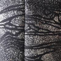 【袷】モノトーン たたき染めに抽象柄 小紋