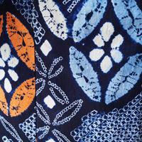 【浴衣】藍地 七宝つなぎ文 絞り 浴衣