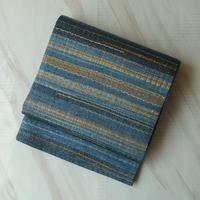 【ふくろ帯】瑠璃色に鶸色、波文洒落ふくろ帯