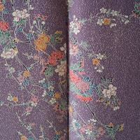 【袷】古代紫色 四季花 小紋 5k17