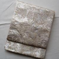 【ふくろ帯】唐花と鳥のホワイトシルバー袋帯