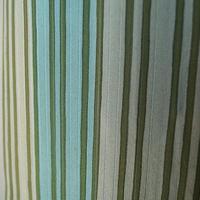 【単衣】グリーン系 縞柄 小紋