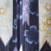 【浴衣】紺青地 撫子と矢羽根柄 プレタ浴衣 3k37