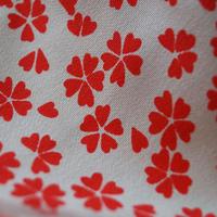 【長襦袢】生成色×朱赤色 桜文 長襦袢
