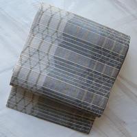 【夏ふくろ帯】薄雲鼠色系マクラメ編み風ふくろ帯