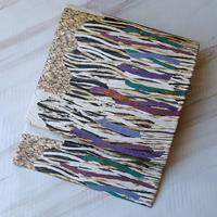 【ふくろ帯】生成り地 波文や石畳文のふくろ帯