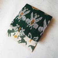【なごや帯】深緑色地 イカット織 仕立ておろし なごや帯