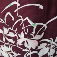 【夏・絽】 臙脂色地 秋草文 セミアンティーク 絽訪問着