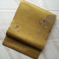 【なごや帯】黄金色 四角の抽象文 開きなごや帯