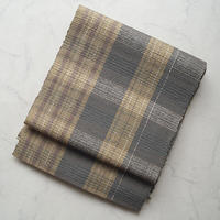 【なごや帯】海松茶色×桑染色 格子柄 八寸袋なごや帯
