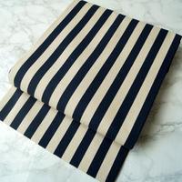 【なごや帯】濃紺×砂色 縞文 仕立ておろし なごや帯